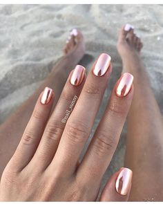 pinkish chrome nails