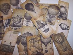 Hot Air Balloon Steampunk Sticker Labels Set of 24 by mreguera, $8.00