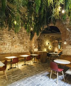 """Winer Prize Restaurant & Bar Design Awards _ Surface Interiors category""""La Bona Sort"""" tapa's restaurant is sited in an old. Patio Grande, Cafe Concept, Restaurant Patio, Garden Cafe, Restaurant Interior Design, Restaurant Interiors, Outdoor Furniture Sets, Outdoor Decor, Lobby Furniture"""