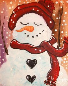 Smiling snowman painting with heart buttons. RezClick - Whimsy Paint and Sip: Calendar Winter Painting, Winter Art, Diy Painting, Christmas Paintings On Canvas, Christmas Canvas, Christmas Rock, Xmas, Wine And Canvas, Paint And Sip