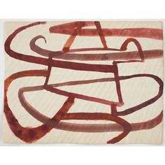Suzan Frecon; multiple reds, 2007, watercolor on agate-burnished old Indian ledger paper, 9 1/8 x 12 inches
