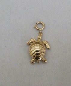 14K GOLD 3D MECHANICAL MOVABLE LEGS TAIL SEA TURTLE SPRING RING CHARM 2.7 GRAMS