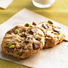Crunchy pistachios and rich chocolate chunks take this chocolate chip cookie to a new level! More chocolate chip cookies: http://www.bhg.com/recipes/desserts/cookies/our-best-chocolate-chip-cookies/?socsrc=bhgpin070813pistachio=7