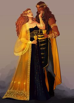 Feanor and Nerdanel commissioned from the amazing @tosquinha, who did such a fantastic job! A gentle moment between Feanor and Nerdanel at a party.