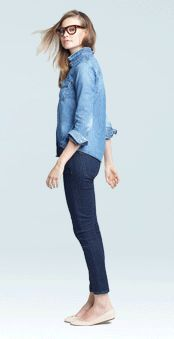 double denim w/ nude flats