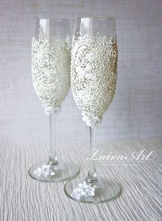 Image result for Shabby Chic Wine/Champagne Flute Glass