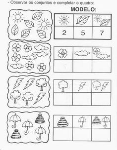 Atividades com números #educacion Montessori Math, Math Literacy, Preschool Worksheets, Kindergarten Math, Teaching Math, Math Activities, Preschool Activities, Teaching Numbers, Simple Math