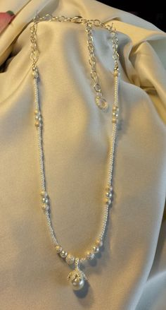 CLAW DROP PEARLY White Pendant Style Longer by BeadOriginalsbyJudi