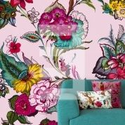 Not on pink background though... Eijffinger large floral wallpaper print