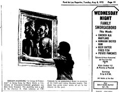 """#DiegoVoci™ A very special discovery. A donated Diego Voci work of art was recently found at Forrest R. Polk Library at Univ. of Wis. at Oshkosh.  Here is the newspaper article published in Fond du Lac Reporter back in 8.8.1972 of """"A Group of Fisherman"""" by Diego Voci hung by a graduate student. We thank Joshua Ranger University Archivist & Communication Librarian for locating the information for the Diego Voci Art Foundation."""