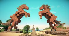 Dothraki horse gate (horse design by novv) : Minecraft - statue Minecraft Horse, Minecraft Welten, Minecraft Statues, Minecraft Structures, Minecraft Castle, Minecraft Medieval, Minecraft Plans, Minecraft Survival, Minecraft Tutorial