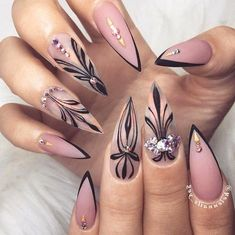 "If you're unfamiliar with nail trends and you hear the words ""coffin nails,"" what comes to mind? It's not nails with coffins drawn on them. Although, that would be a cute look for Halloween. It's long nails with a square tip, and the look has. Hallographic Nails, Sexy Nails, Trendy Nails, Hair And Nails, Nails 2016, Coffin Nails, Sexy Nail Art, Blush Nails, Gradient Nails"