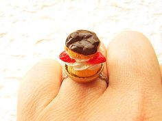 Kawaii Food Ring Strawberry Cream Puff  by SouZouCreations on Etsy, $10.00