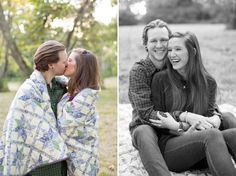 A romantic fall engagement session at Mathew's Manor in Springville, Alabama. Sweet engagement session pictures in a field. Cute engagement pictures with a quilt. Birmingham, Alabama wedding photographers.