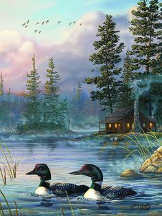 "River's Edge ""Autumn Air Loons"" LED Lighted Gallery Wrapped Canvas Art 16"" X 12"" #RiversEdge #Lodge"