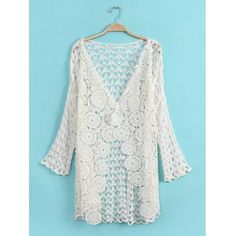 !!!!!!! Stylish V-Neck Long Sleeve Solid Color Crochet Flower Hollow Out Women's Cardigan