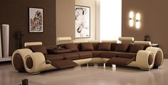 Designer Brown and Cream Corner Recliner Top Graded Real Leather Sofa  Model: T27C-BC  Available Colours: Brown and Cream, Black and White, All White   check out the site http://ukfurnituredirectltd.co.uk/