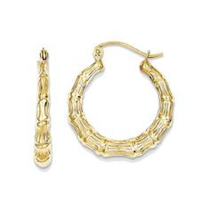 10k Yellow Gold Textured Hollow Hoop Earrings - 15mm