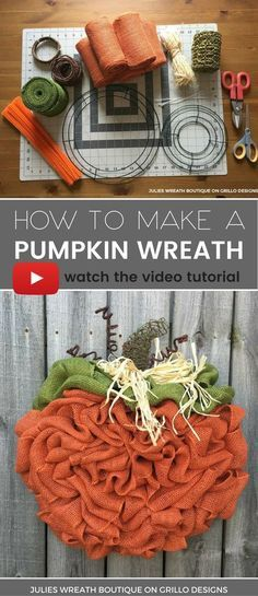 Julie Wreath boutique shares a step by step tutorial on how to make the perfect BURLAP pumpkin wreath for Fall, Autumn or Thanksgiving!