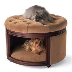This handsome Fine-furniture Pet Ottoman and Den is not only a great place to rest your tired feet, it's also an upscale pet hideaway that cats and smaller dogs can't help but climb into.