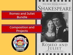 Romeo and Juliet Bundle Various Lesson Ideas - This creative bundle of project activities and a writing assignment for Romeo and Juliet. The composition assignment is designed as an in-class task that will produce a single paragraph and generate a memo that melds current class vocabulary to the plot of Romeo and Juliet. #tptenglishliterature #romeoandjuliet #highschoolliterature