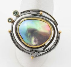 Sea of Cortez mabe pearl ring with tourmalines.  http://sydneylynch.com