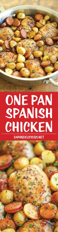One Pan Spanish Chicken - One skillet. Amazing flavors. And basically zero clean-up. It's pretty much the easiest/tastiest dinner for any night of the week!