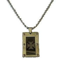 """Iron Cross Pendant is on a 24"""" Stainless Ball Chain"""