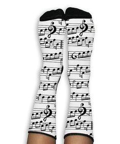 Look at this #zulilyfind! White & Black Music Note Crew Socks #zulilyfinds