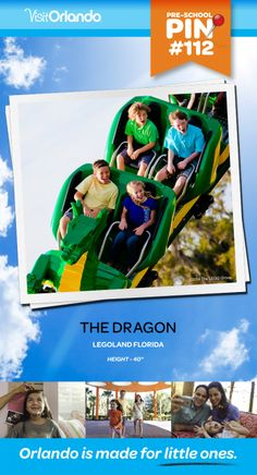 "The Dragon Ride - an indoor/outdoor steel roller coaster that features a hilarious, behind-the-scenes view of life within the enchanted LEGOLAND Castle. Minimum height: 40"" #VisitOrlando #Legoland #Lego #LegolandFlorida #Orlando #Preschool #littleones #travel #familytravel"
