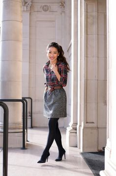 Extra Petite. Plaid shirt+grey skirt+black tights+black pumps+brown belt+jewelry+navy blazer. Holiday Wokr Style. Fall Business Outfit 2016