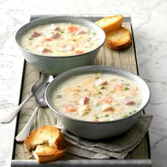 I knew this ham soup recipe was a keeper when my mother-in-law asked for it! The hearty soup, chock-full of leftover ham, veggies and cheese, is creamy and comforting. And even though the recipe … Ham Recipes, Soup Recipes, Cooking Recipes, Chilli Recipes, Muffin Recipes, Casserole Recipes, Crockpot Recipes, Dinner Recipes, Korma