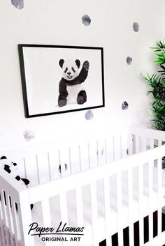 Baby Panda - PRINTABLE - black and white panda nursery artwork - minimalist baby animal art Panda Nursery, Baby Animal Nursery, White Nursery, Nursery Neutral, Baby Animals, Floral Nursery, Toddler And Baby Room, Baby Boy Rooms, Girl Rooms