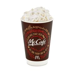 McCafé White Hot Chocolate :: McDonalds.com ❤ liked on Polyvore featuring food, drinks, food and drink, accessories, food & drink and filler