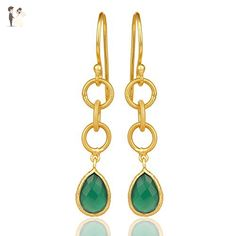 Green Onyx Gemstone Earring, 925 Sterling Silver Gemstone Jewelry, Gemstone Gold Plated Dangle Earrings - Wedding earings (*Amazon Partner-Link)