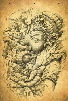 What does ganesha tattoo mean? We have ganesha tattoo ideas, designs, symbolism and we explain the meaning behind the tattoo. Irezumi Tattoos, Backpiece Tattoo, Tatuajes Tattoos, Leg Tattoos, Body Art Tattoos, Sleeve Tattoos, Tattoo Ink, Ganesh Tattoo, Hindu Tattoos