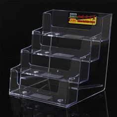 1pcs new clear desk shelf box storage display stand acrylic plastic 4 fach werbung bro praxis visitenkarten halter aufsteller stnder 9x85x10cm ro reheart Images