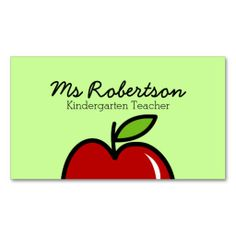 Chalkboard apple substitute teacher business cards teaching pinte teacher business card template with red apple accmission Image collections