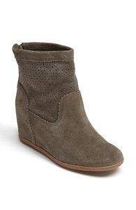 Brown suede wedge boot