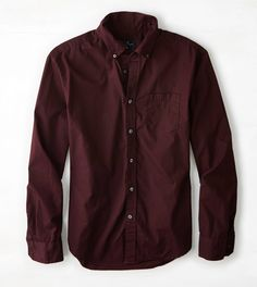 Burgundy AEO Solid Poplin Button Down Shirt