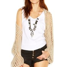 Free People Open Weave Cardigan Very unique Free People open-weave crochet cardigan! Super comfy and perfect for summer! Even though it's a size medium it fits me perfectly, I tend to just have it drape off one shoulder! Always open to trades and willing to work with offers :) Free People Sweaters Cardigans