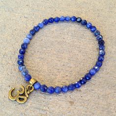 Peace, Fine faceted sodalite bracelet with Om charm – Lovepray jewelry