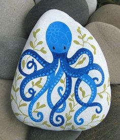 Hand Painted Cape Cod Beach Stone: This indigo octopus and seaweed makes a unique paperweight for your desk or a pretty decorative item. on Etsy, $42.00