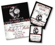 Beautiful Nightmare Before Christmas, Jack and Sally, Jack Skellington Wedding Invitation, Custom made for you. $25.00, via Etsy.