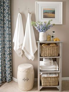 Save space in your small bedroom, bathroom, living room or laundry room by incorporating a few of our favorite storage solutions. Keep any room clutter-free by installing shelving units, using vertical spaces and including out-in-the-open storage.