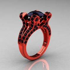 Brunhilde - French Vintage 14K Red Gold 3.0 CT Black Diamond Pisces Wedding Ring Engagement Ring Y228-14KREGBD