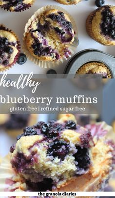 These healthy blueberry muffins are packed with superfood ingredients, high in protein, and low in sugar, making them a perfect option for breakfast on-the-go! They are naturally gluten-free (oat flour) and sweetened naturally with a touch of honey Muffins Sans Gluten, Gluten Free Blueberry Muffins, Dessert Sans Gluten, Healthy Blueberry Muffins, Bon Dessert, Gluten Free Desserts, Oat Flour Muffins, Sugar Free Muffins, Healthy Breakfast Muffins