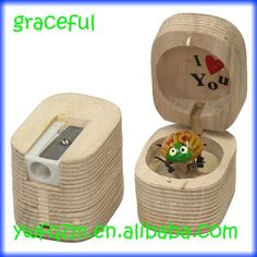 Wood pencil sharpener with cover, insect inside the cover for students $0.16~$0.24