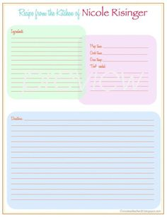 A Recipe Page Template  Peach Rose Wreath Design  Editable Pdf