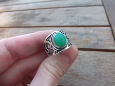 Chrysoprase Ring Design Sterling Silver Handmade Artisan Apple Green Calcedony Semi Precious Gemstone Elegant Design